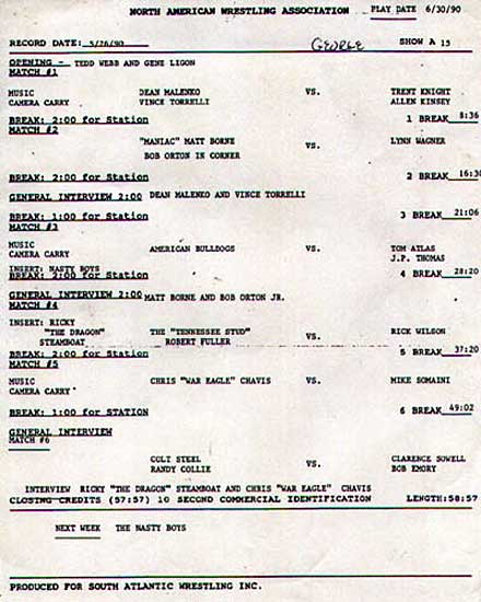 5-1-90 NAWA TV Taping List #15